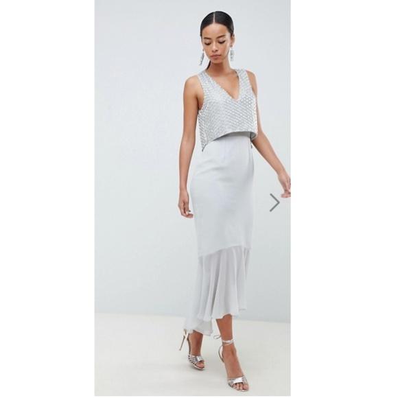 ASOS DESIGN Tall Gown with crop top embellishment 07585a22da1